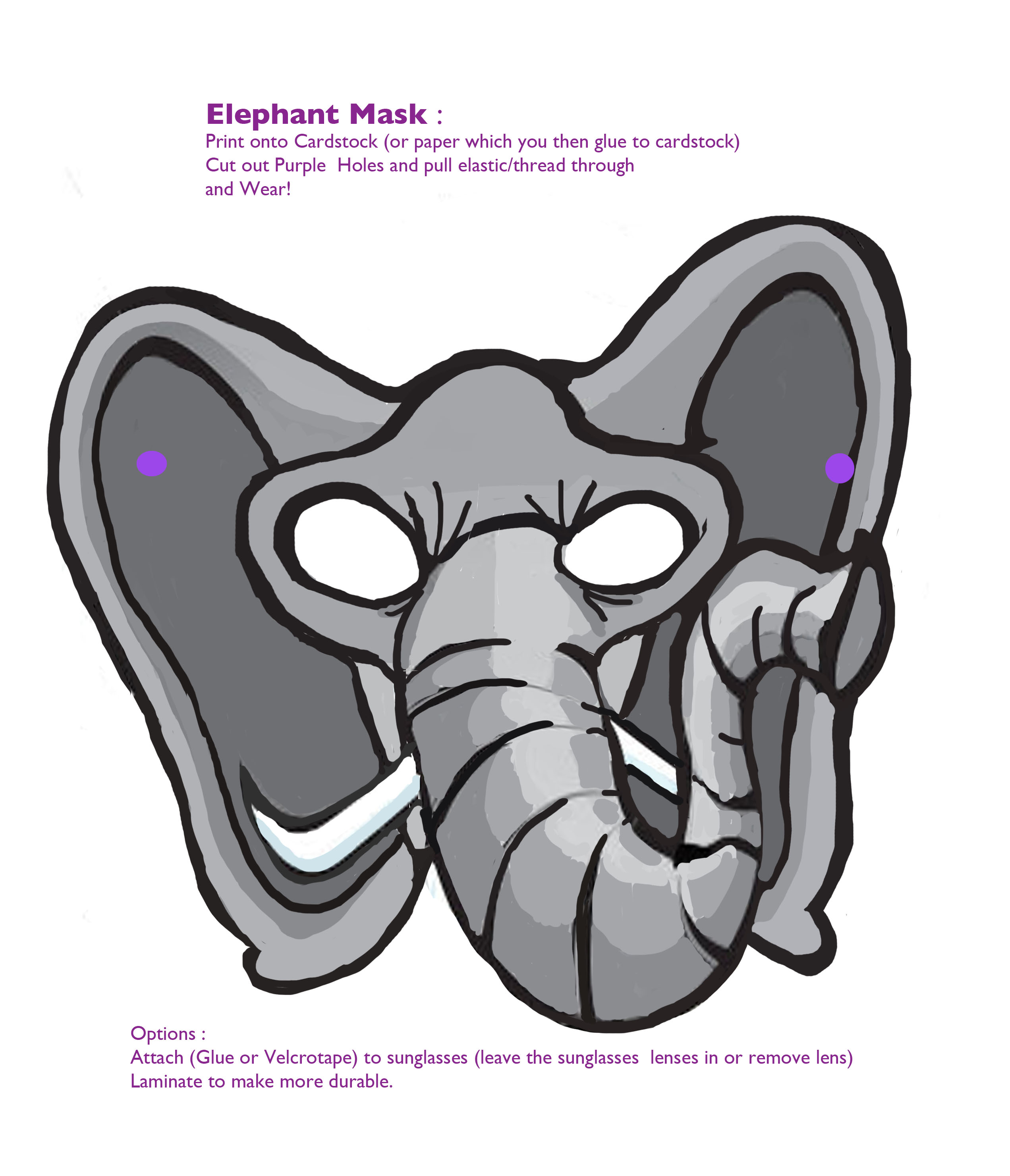 It's just a graphic of Elephant Mask Printable regarding cardboard